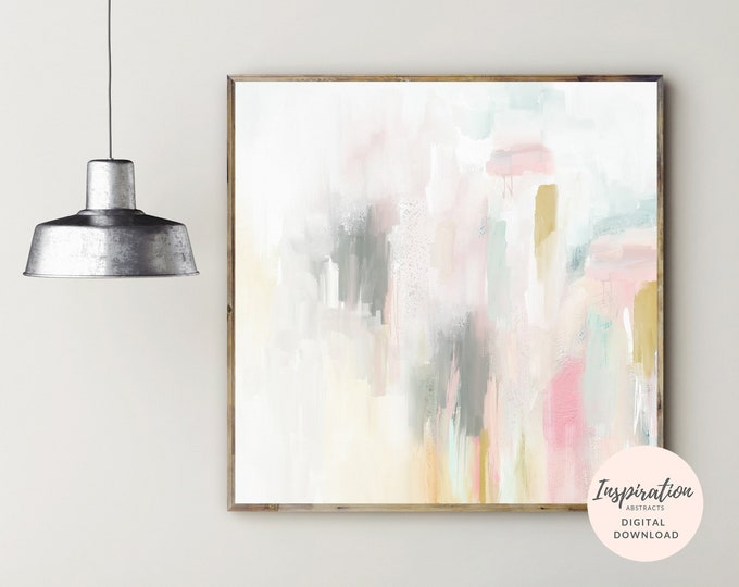 Calming Abstract Painting, Nursery Print, Digital Download, Colourful Abstract Art, Oversized Wall Art, Large Square Print, 30x30 Art Print