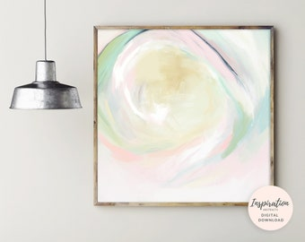 Calming Abstract Painting, Printable Abstract Art, Square Painting, Digital Download