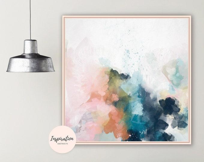 Contemporary Abstract Art, Colourful Wall Art, 24x24 Art Print, Abstract Nursery Art, Living Room Art, Square Print, Mixed Media Art