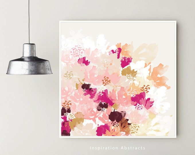 Large Flower Painting, Abstract Botanical Print, Colourful Wall Art, Watercolour Painting, Gift For Her, Floral Painting