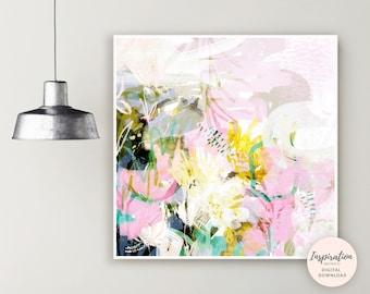 Abstract botanical Painting, Printable Art, Botanical Wall Art, Oversized Wall Art, Flower Print, Nursery Art, Floral Wall Art