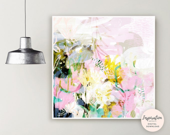 Featured listing image: Abstract botanical Painting, Printable Art, Botanical Wall Art, Oversized Wall Art, Flower Print, Nursery Art, Floral Wall Art