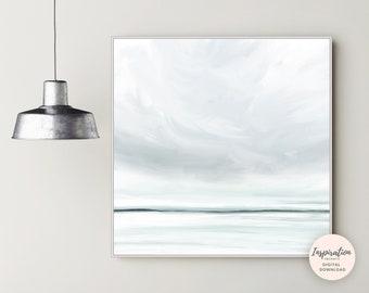 Calming Seascape Painting, Printable Art, Zen Wall Art, Landscape Painting, Large Wall Art, Living Room Decor, 30x30 Wall Art, Minimal Art