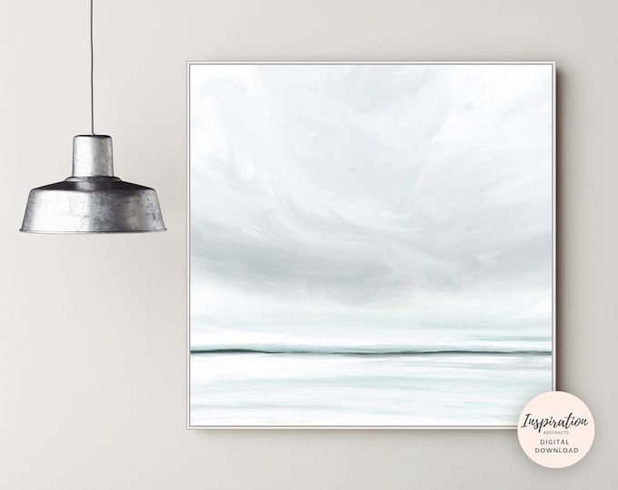 Featured listing image: Calming Seascape Painting, Printable Art, Zen Wall Art, Landscape Painting, Large Wall Art, Living Room Decor, 30x30 Wall Art, Minimal Art