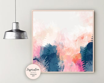 Large Floral Painting, Oversized Wall Art, Botanical Abstract Art, 30x30 Print, Living Room Decor, Colourful Mixed Media Art, Gift for Her