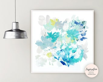 Large Flower Print, Abstract Flower Painting, Nursery Decor, Floral Wall Art, Watercolour Painting, Printable Art, 30x30 Wall Art