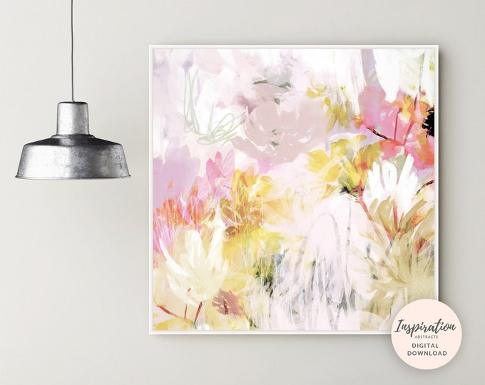Featured listing image: Printable Flower Painting, Large Flower Print, Abstract Nursery Art, Floral Wall Art, Mixed Media Art, 20x20 Wall Art, Botanical Art