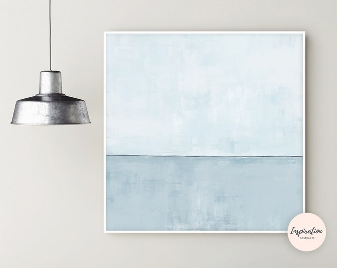 Minimalist Painting, Serene Wall Art, Beach House Art, Oversized Wall Art, Pale Blue Wall Art, 40x40 Wall Art, Contemporary Art