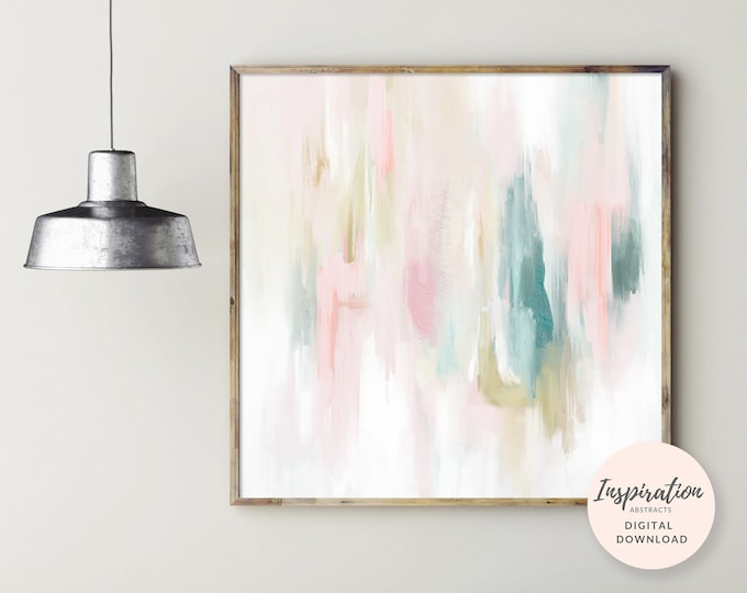 Serene Abstract Painting, Nursery Print, Printable Art, Colourful Wall Art, Nursery Wall Art, 24x24 Art Print, Acrylic Painting