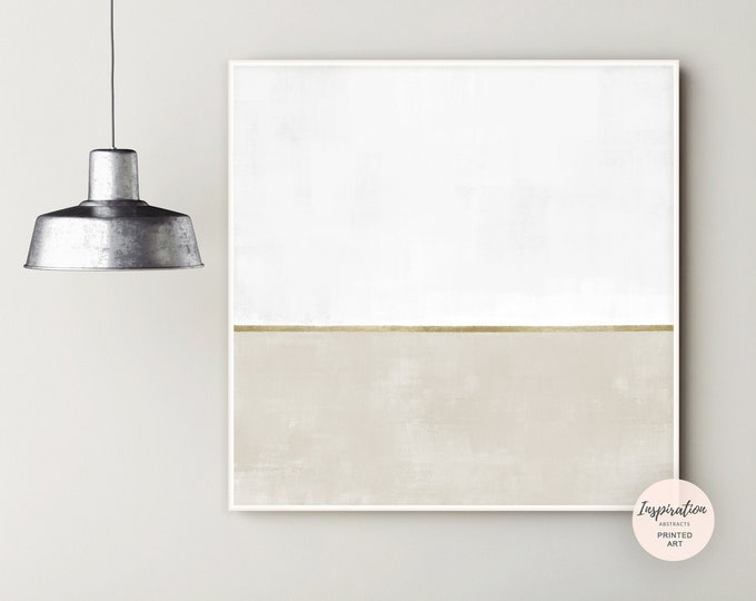 Large Minimal Wall Art, Beige White and Gold Canvas Wall Art, Abstract Art, Oversized Wall Art, Modern Art, Rothko Inspired, Minimalist Art