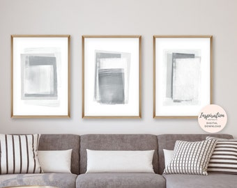 Set of 3 Abstract Prints, Grey and White Abstract Art, Monochrome Prints, Large Wall Art, Minimal Art Prints, Digital Download