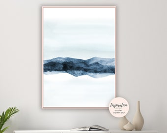Abstract Landscape Print, Mountain Print, Printable Art, Minimal Art, Zen Wall Art, , Navy Blue Painting, Watercolour Painting, Bedroom Art