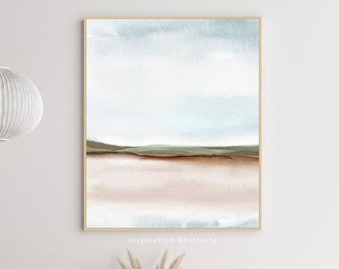 Neutral Landscape Painting, Large Watercolour Print, Zen Wall Art, Coastal Decor, Minimalist Art, Abstract Art, Bedroom Wall Art
