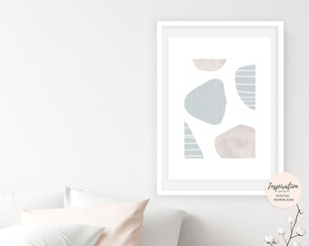 Abstract Wall Art, Mid Century Modern, Beach House Art,  Scandinavian Print, Large Wall Art, Collage Art, Calming Wall Art, Neutral Decor