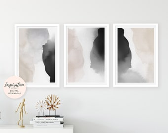 Watercolor Prints, Neutral Abstract Art, Set of 3 Art Prints, Vertical Wall Art, 24x36 Art Prints, Oversized Wall Art