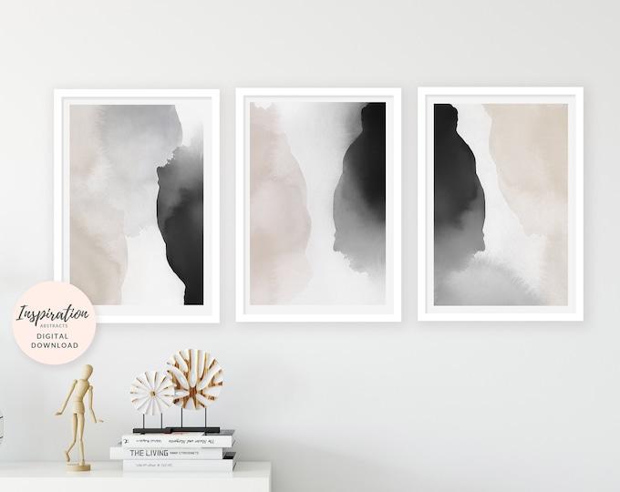 Watercolor Prints, Neutral Abstract Art, Set of 3 Art Prints, Vertical Wall Art, 24x36 Art Prints, Oversized Wall Art