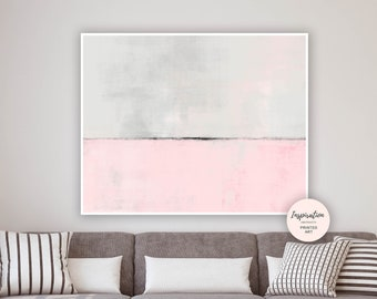 Pink Grey Painting, Large Abstract Art, Acrylic Painting, Modern Abstract Print, Minimal Abstract, Giclee Print