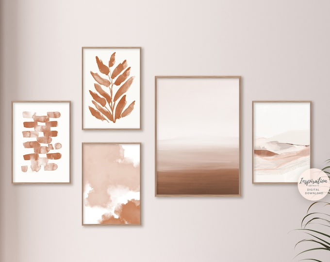 Abstract Gallery Wall Set, Rust Wall Art, 5 Piece Wall Art, Boho Prints, Printable Art, Minimalist Print Set, Bedroom Decor
