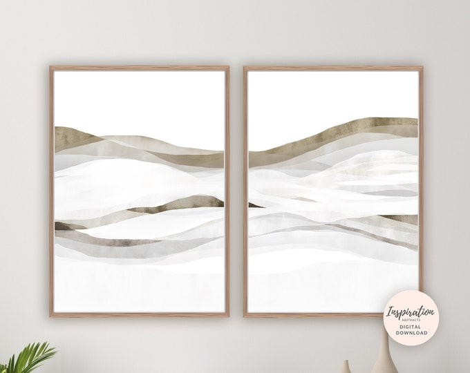 Minimalist Abstract Art, Abstract Landscape, Watercolour Prints, Bedroom Wall Art, Printable Art, Modern Art, Large Wall Art, Wall Art Set