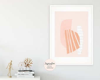 Modern Abstract Art, Geometric Art Print, Blush Pink and Burnt Orange Wall Art, Minimalist Poster, Extra Large Wall Art, Living Room Decor
