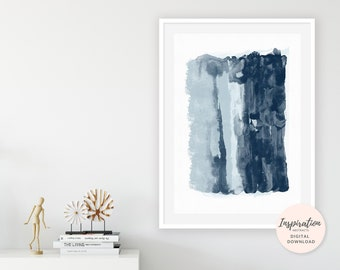 Modern Abstract Art, Navy Blue Wall Art, 24x36 Art Prints, Vertical Wall Art, Watercolor Print, Extra Large Wall Art, Modern Wall Art