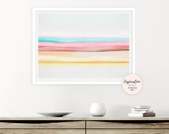Colourful Watercolour Print, Rainbow Wall Art, Abstract Art, Landscape print, Watercolour Print, Nursery Decor, Candy Stripes