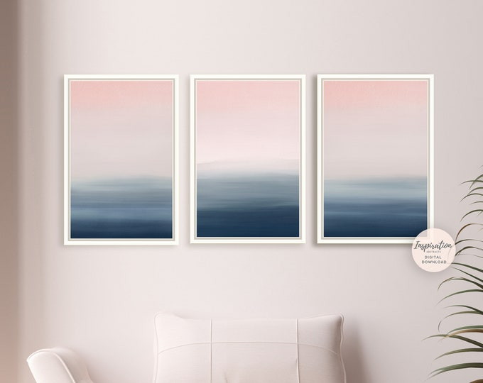 Gallery Wall Set, Pink Navy Wall Art, 3 Piece Wall Art, Bedroom Print Set, Printable Art, Zen Wall Art, Large Wall Art, Set of 3 Prints