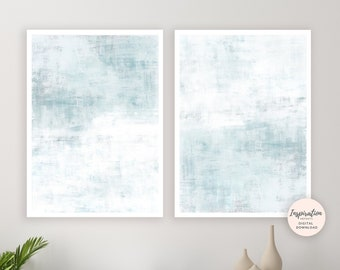 Pale Blue Wall Art, Set of 2 Prints, Printable Art, Calming Wall Art, Acrylic Paintings, Minimal Wall Art, Living Room Art, Contemporary Art