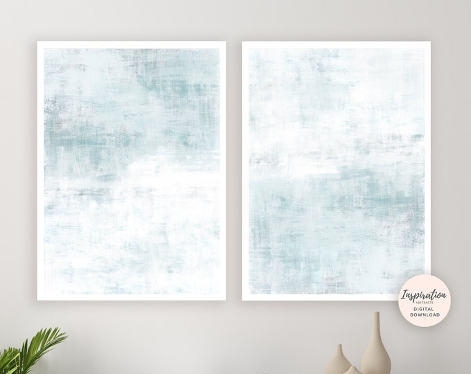 Pale Blue Wall Art, Set of Two Prints, Minimal Abstract Art, Printable Art, Calming Wall Art, Digital Prints, Large Abstract Art