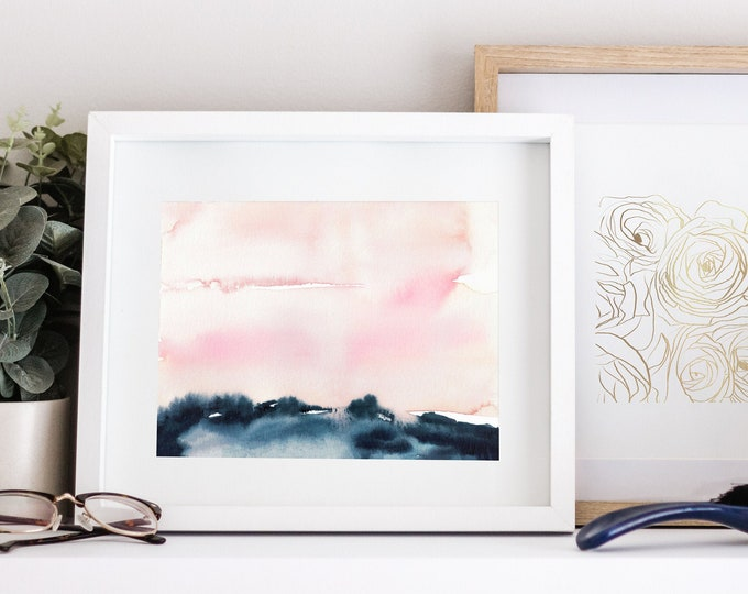 Pink and Navy Landscape Painting, Watercolour Print, Minimal Painting, Bedroom Wall Art, Printable Art, Zen Wall Art, Large Wall Art