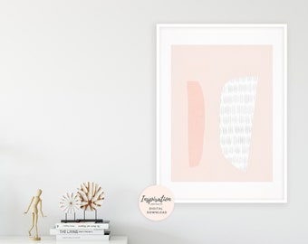 Modern Wall Art, Blush Pink Wall Art, Geometric Print, Minimal Painting, Large Wall Art, Affordable Art, Scandinavian Print, Earth Tones