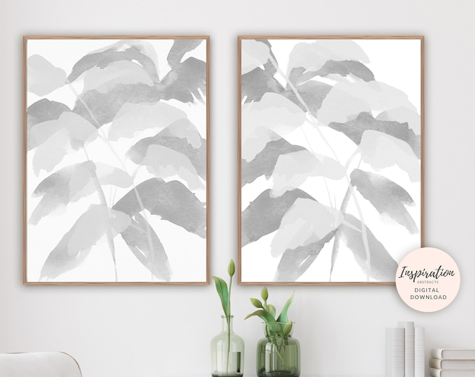 Set of 2 Minimal Leaf Prints, Grey Wall Art, Leaf Poster, Minimalist Print, Watercolour Print, Abstract Art, Printable Art, Large Wall Art