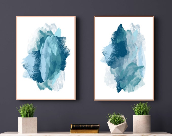 Set of 2 Prints, Blue Abstract Art, Large Wall Art, Printable Art, Blue Paintings, Beach House Art, Modern Wall Art, Abstract Wall Art