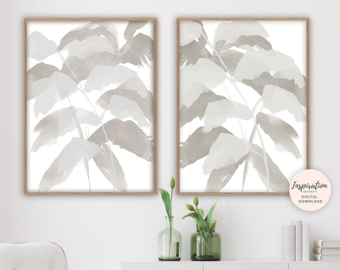 Set of 2 Prints, Leaf Prints, Neutral Wall Art, Leaf Poster, Minimal Abstract Art, Watercolour Print, Printable Art, Minimalist Print