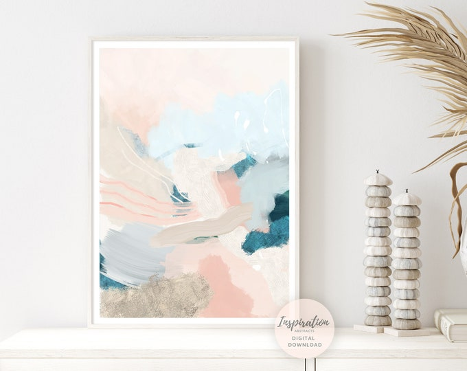 Modern Abstract Painting With Soft Pastel Tones, Printable Wall Art, Mixed Media Art, Nursery Wall Art