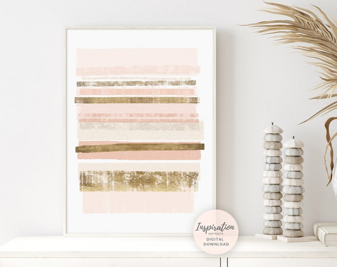 Blush Pink And Gold Striped Abstract Print, Printable Wall Art, Feminine Bedroom Decor