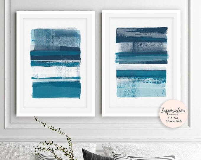 Blue Abstract Paintings, Set Of 2 Art Prints, 50X70 Posters, Mixed Media Art, Scandinavian Prints, Minimal Art Prints, Lounge Paintings