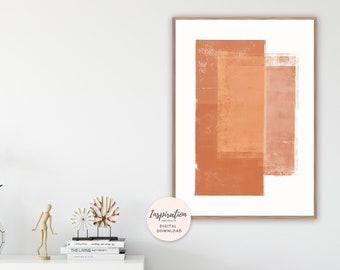 Burnt Orange Print, Large Abstract Art, Minimal Painting, Geometric Print, Large Wall Art, Printable Art, Minimal Modern Art