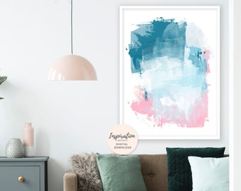 Teal and Pink Painting, Oversized Painting, Large Abstract Art, Vertical Wall Art, Mixed Media Art, Living Room Art, Beach House Art