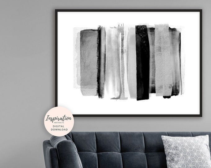 Minimal Abstract Print, 24x36 Art Print, Black and White Wall Art, Printable Painting, Scandi Decor, Living Room Art
