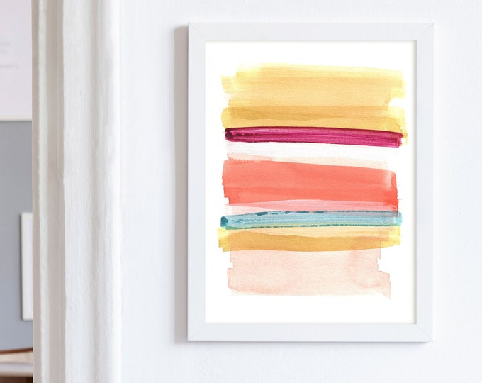 Colourful Mixed Media Print, Abstract Wall Art, Minimal Abstract Art, Watercolour Print, Minimalist Art, Kids Room Art, Nursery Art