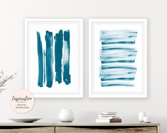 Minimal Wall Art, Set of 2 Prints, Abstract Art, Brush Strokes Prints, 24x36 Art Prints,  Watercolor Prints, Teal Wall Art