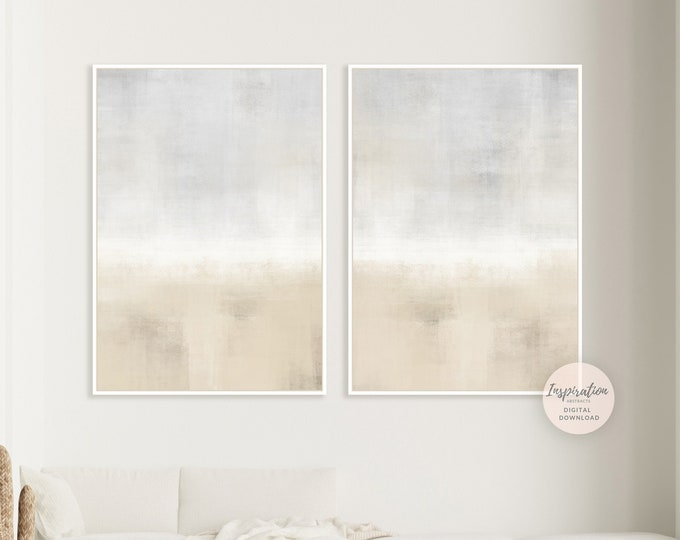 Set Of Two Neutral Abstract Paintings, Printable Art, Set of 2 Prints, Living Room Art, Minimal Print Set, Large Art, Rothko Inspired