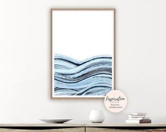 Abstract Seascape, Printable Art, Zen Wall Art, Ocean Print,  Beach House Art, Watercolour Painting, Mixed Media Art, Bedroom Art