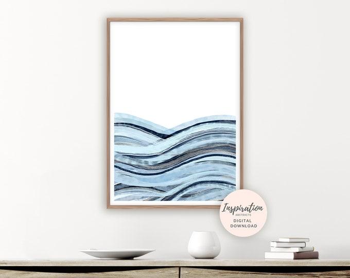 Abstract Seascape, Printable Art, Zen Wall Art, Ocean Print,  Beach House Art, Watercolour Painting, Mixed Media Art, Bedroom Art