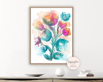 Colourful Floral Painting, Large Flower Print, Watercolour Painting, Printable Art, 18x24 Art Print, Living Room Art, Modern Art