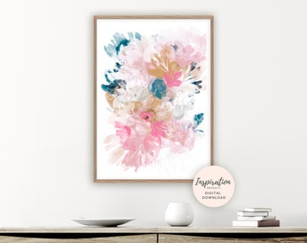 Floral Wall Art, Printable Watercolour Painting, Large Flower Print, Botanical Print, Boho Art, Pink and Navy, Abstract Nursery Decor