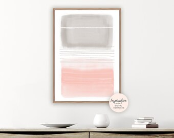 Blush Pink and Grey Abstract Art, Minimalist Mixed Media Print, Oversized Living Room Wall Art, 24x36 Art Print