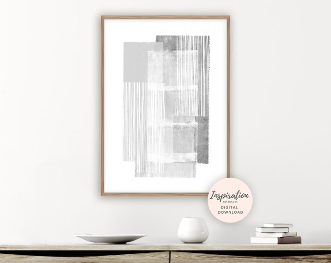 Grey and White Painting,  Minimal Wall Art, Abstract Wall Art, Living Room Decor, Large Wall Art, Printable Art, Scandi Art