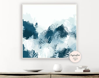 Large Botanical Print, Modern Wall Art, Beach House Art, Oversized Wall Art, Pale Blue Wall Art, 30x30 Wall Art, Contemporary Art